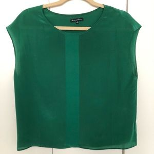 Broadway & Broome green silk top from Madewell